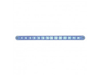 "14 LED 12"" Auxilliary Strip Light w/Bezel Blue LED Clear Lens"