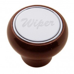 """Wiper"" Wood Deluxe Dash Knob-SS Plaque"