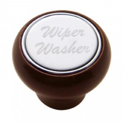 """Wiper/Washer"" Wood Deluxe Dash Knob-SS Plaque"
