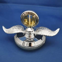 Mototmeter Replica w/ Wings Chrome Hood Ornament