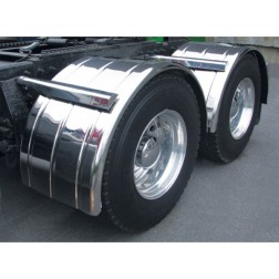 Stainless Steel Fully Ribbed Single Axle Fender with Rolled Edge