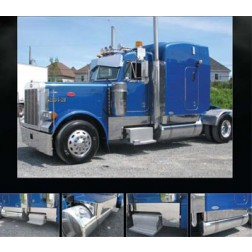 "Peterbilt 379 Stainless Steel ""Southern Style"" 9"" Deep Cowl, Cab & 63"" Sleeper Kit"